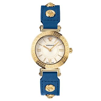 Versace Tribute Ladies' Blue Leather Strap Watch - Product number 1202391