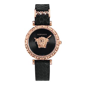 Versace Palazzo Ladies' Black Leather Strap Watch - Product number 1202421