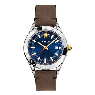 Versace Hellenium Men's Brown Leather Strap Watch - Product number 1202618