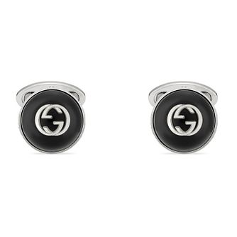 Gucci Heart Men's Silver & Onyx Round Cufflinks - Product number 1203649