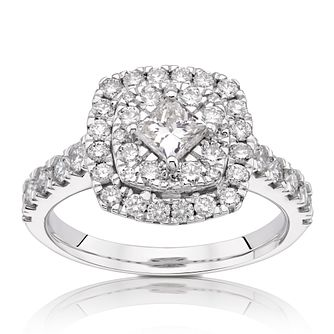 18ct White Gold 1.25ct Total Diamond Princess Halo Ring - Product number 1206672