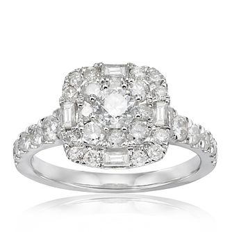 18ct White Gold 1.25ct Total Diamond Cushion Halo Ring - Product number 1206834