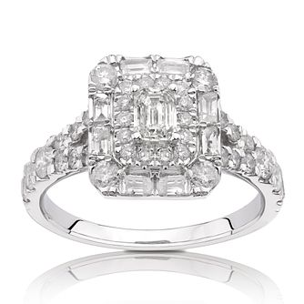18ct White Gold 1.25ct Total Diamond Emerald Cut Halo Ring - Product number 1206982