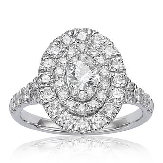 18ct White Gold 1.25ct Diamond Double Oval Halo Ring - Product number 1207121