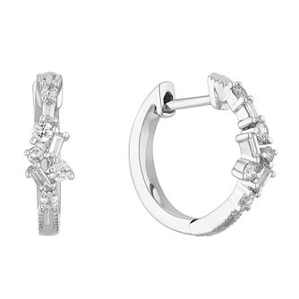 9ct White Gold 0.23ct Diamond Scatter Hoop Earrings - Product number 1207814