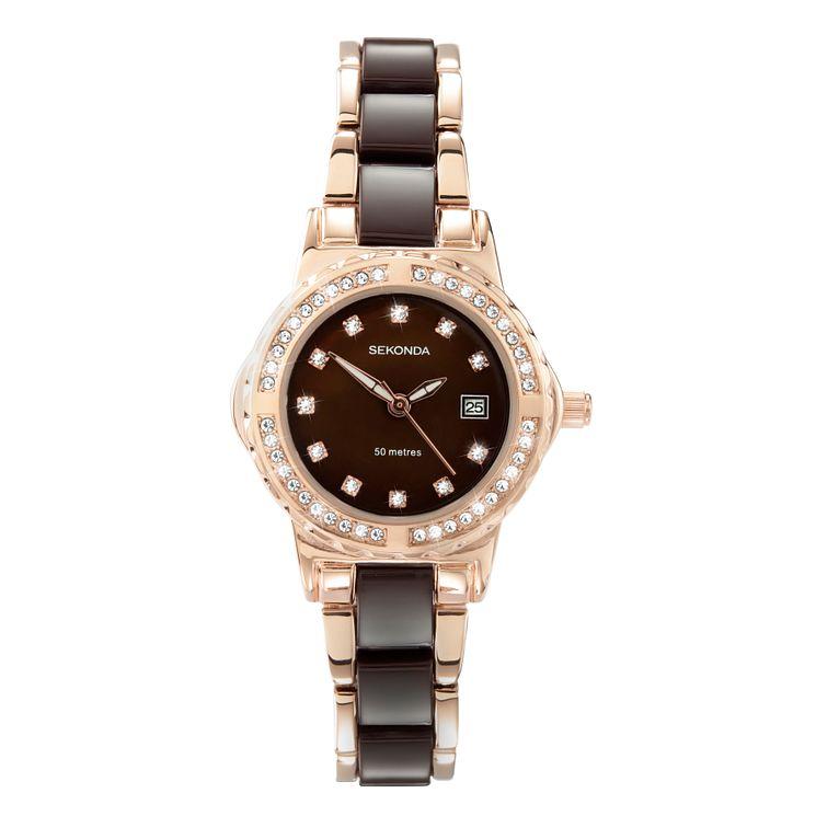 Sekonda La s Rose Gold Plated and Brown Bracelet Watch