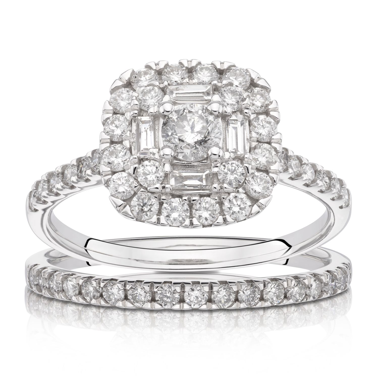 18ct White Gold 1ct Total Diamond Cushion Halo Bridal Set - Product number 1221752