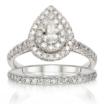 Platinum 1ct Total Diamond Double Pear Halo Bridal Set - Product number 1229702