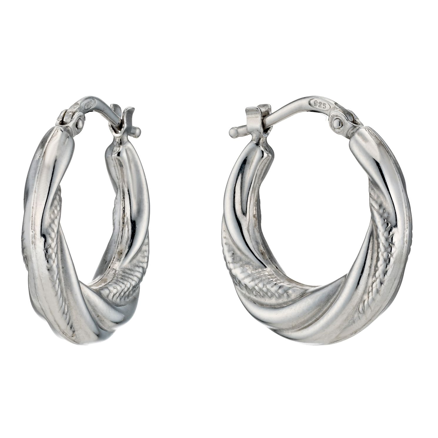 Silver Rhodium-Plated Twist Texture Creole Hoop Earrings - Product number 1234064