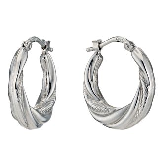 Silver Rhodium Plated Twist Texture 13mm Hoop Earrings - Product number 1234064