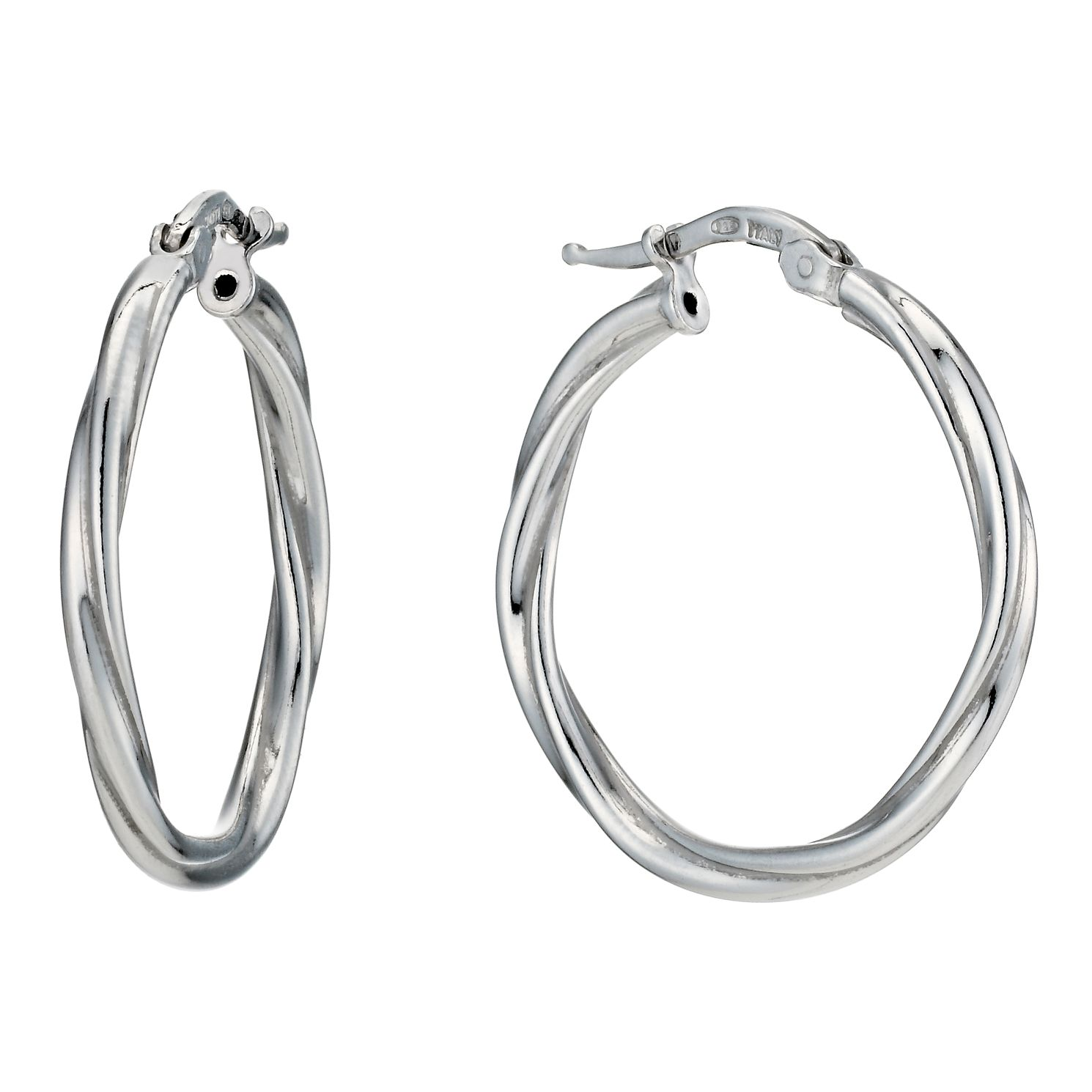 Silver Rhodium Plated Round Twist 20mm Hoop Earrings - Product number 1234080
