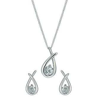 89feaa52761 Silver Rhodium-Plated Cubic Zirconia Earrings   Pendant set. - Product  number 1234145