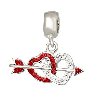 Charmed Memories Silver Red Crystal Double Heart Charm - Product number 1236997