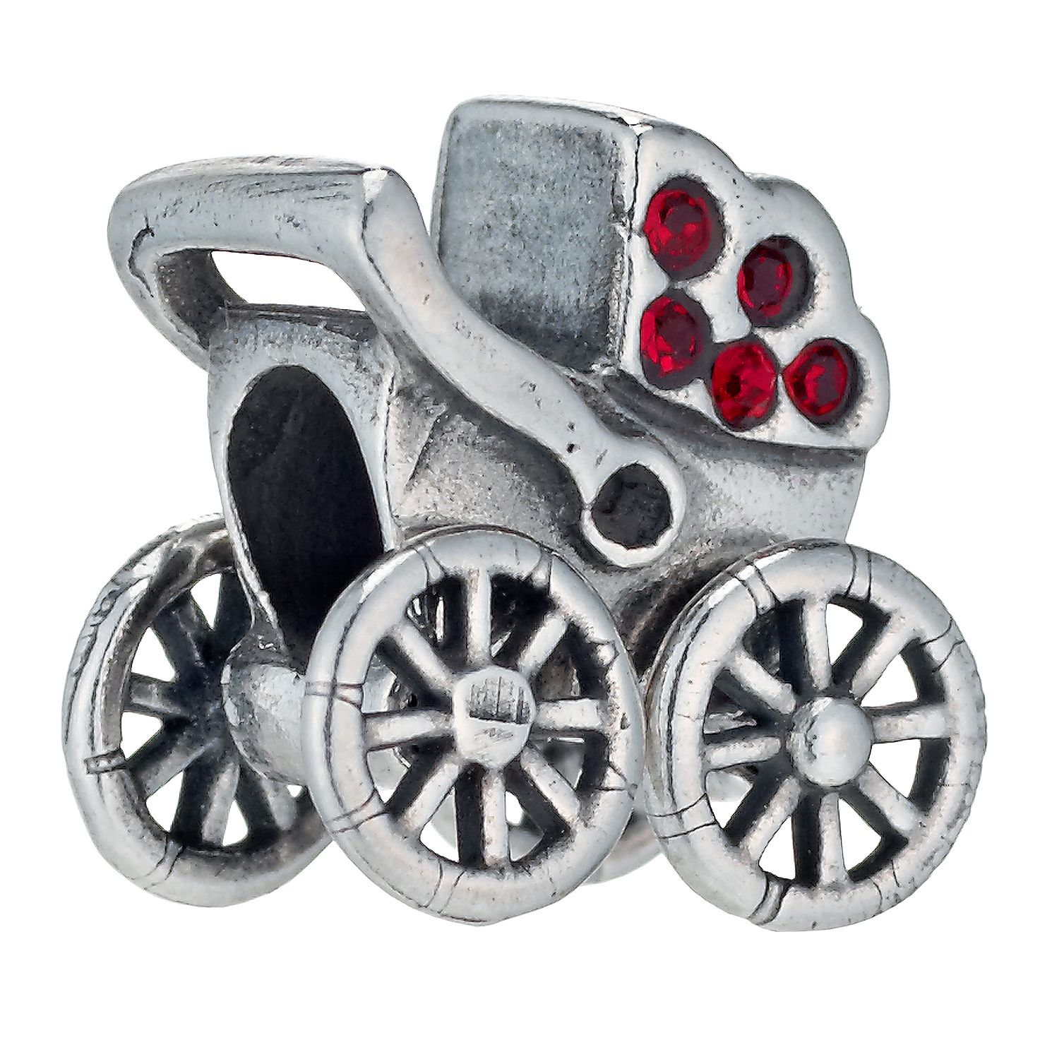 Charmed Memories Sterling Silver Red Crystal Pram Bead - Product number 1237195