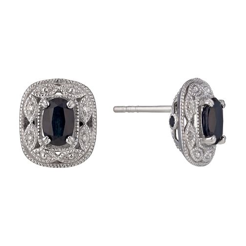 Sterling Silver Sapphire & Diamond Vintage Stud Earrings - Product number 1244450