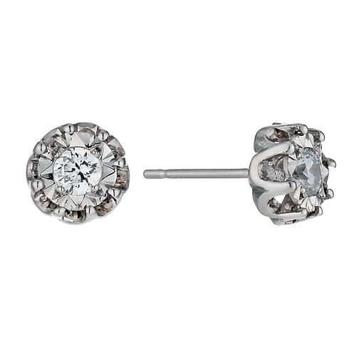9ct White Gold Illusion Set Diamond Flower Stud Earrings - Product number 1244965