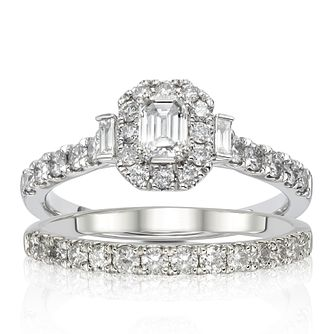 Platinum 1ct Diamond Emerald Halo Bridal Set - Product number 1245139