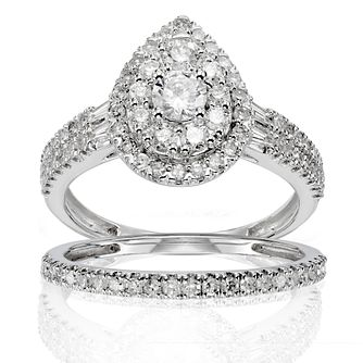 18ct White Gold 1ct Total Diamond Pear Halo Bridal Set - Product number 1245945