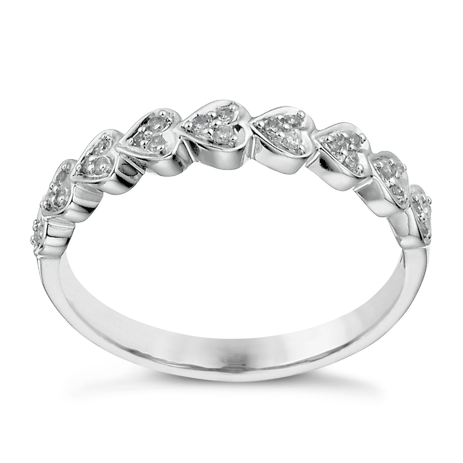 9ct White Gold 10 Point Diamond Heart Ring - Product number 1246216