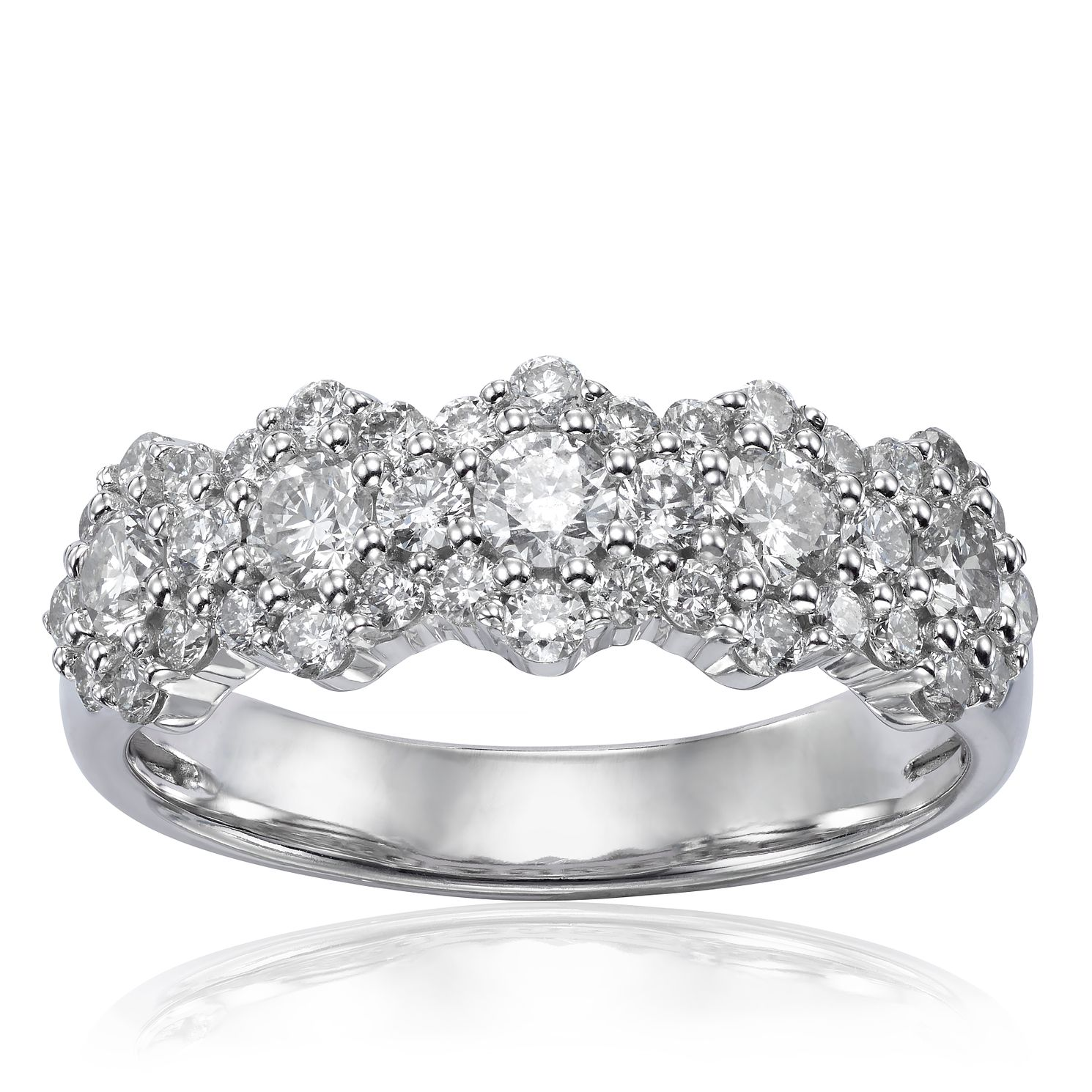 18ct White Gold 1ct Diamond Daisy Ring - Product number 1246496