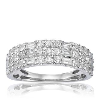 18ct White Gold 1ct Diamond Mix Cut Three Row Ring - Product number 1246631