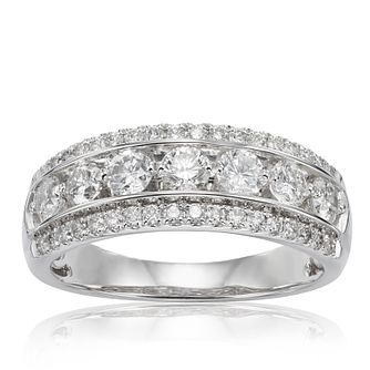 18ct White Gold 1ct Diamond Three Row Ring - Product number 1247050