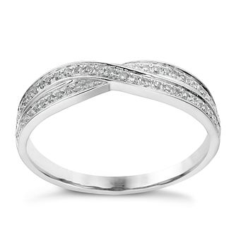 18ct white gold 15 point diamond crossover ring - Product number 1247131
