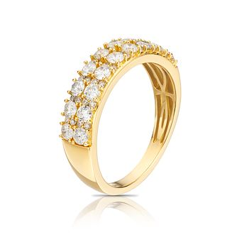 18ct Yellow Gold 1ct Diamond Two Rows Eternity Ring - Product number 1247654