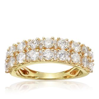 18ct Yellow Gold 2ct Diamond Two Rows Eternity Ring - Product number 1247794