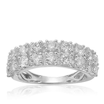 18ct White Gold 2ct Diamond Two Rows Eternity Ring - Product number 1248197