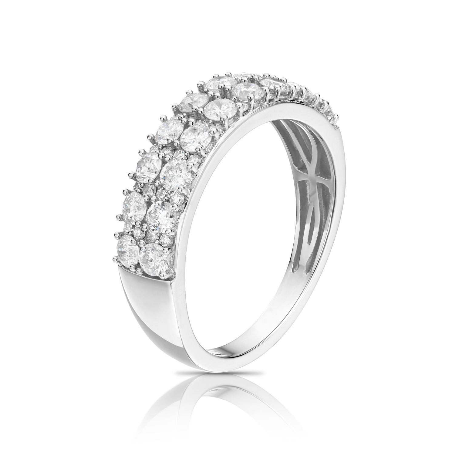 18ct White Gold 1ct Diamond Two Row Eternity Ring - Product number 1248650