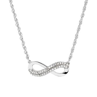 Sterling Silver Diamond Infinity Pendant - Product number 1250507