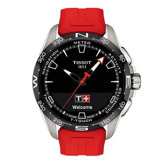 Tissot T-Touch Connect Solar Red Rubber Strap Watch - Product number 1251643