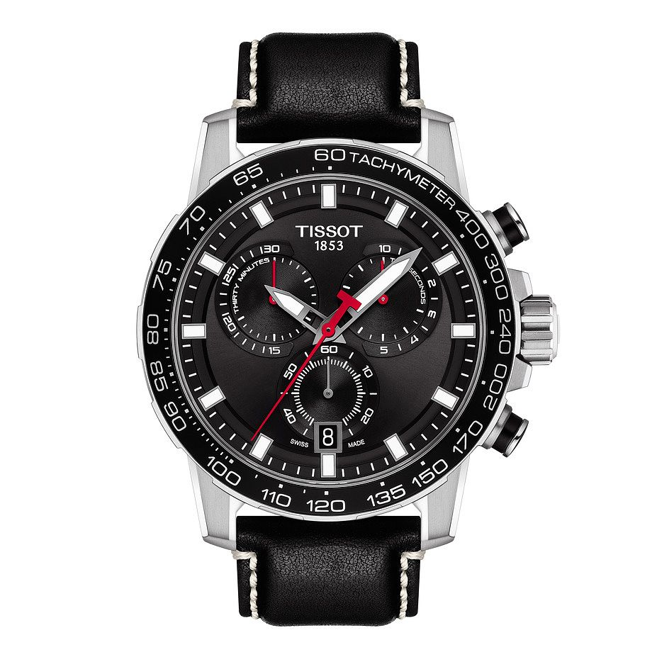 Tissot Supersport Chrono Men's Black Leather Strap Watch - Product number 1251740