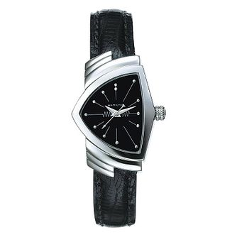 Hamilton Ventura Ladies' Black Leather Strap Watch - Product number 1251910