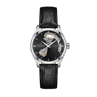 Hamilton Jazzmaster Open Heart Ladies' Leather Strap Watch - Product number 1251937