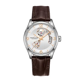 Hamilton Jazzmaster Open Heart Brown Leather Strap Watch - Product number 1252127