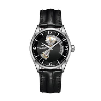 Hamilton Jazzmaster Open Heart Black Leather Strap Watch - Product number 1252135