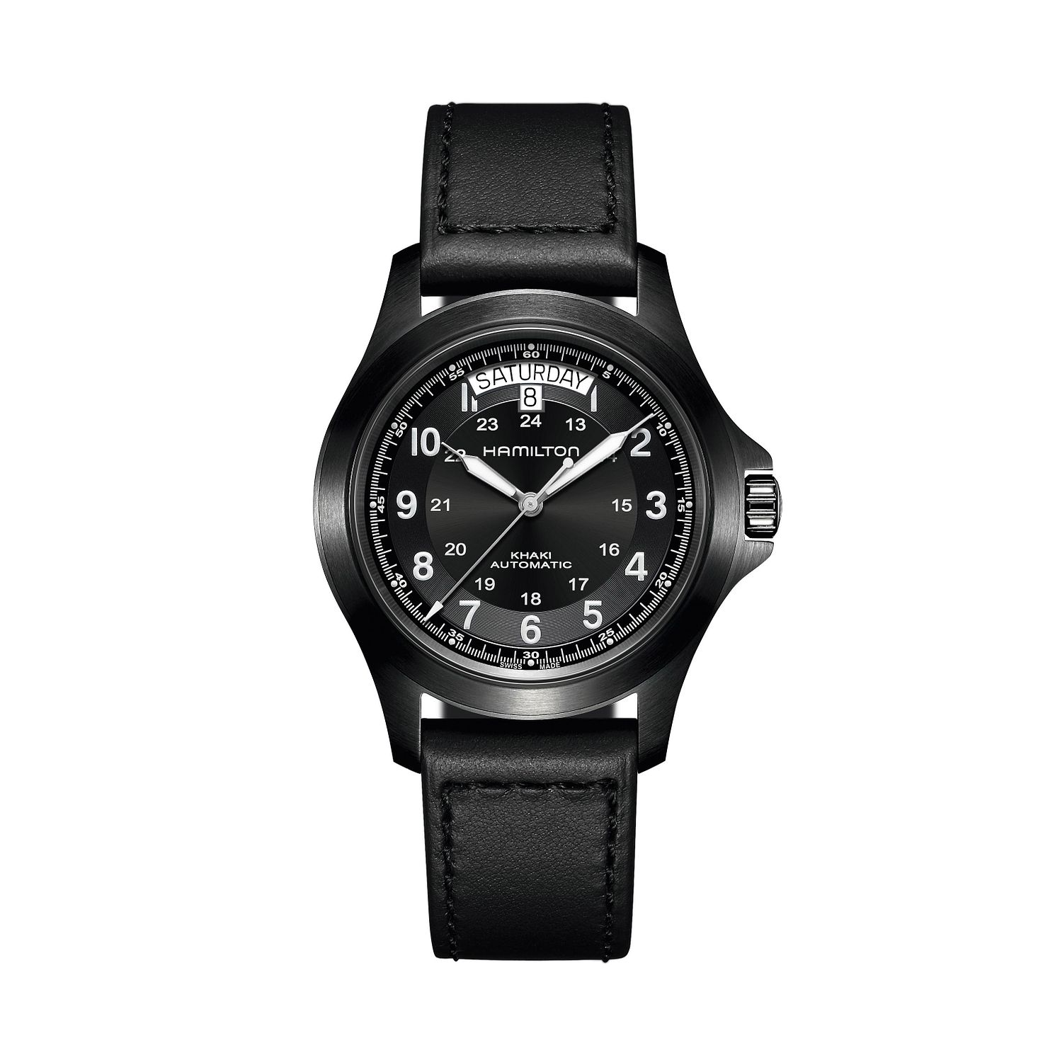 Hamilton Khaki Field King Auto Black Leather Strap Watch - Product number 1252283