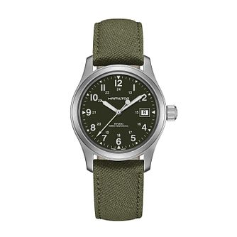 Hamilton Khaki Field Mechanical Green Strap Watch - Product number 1252356