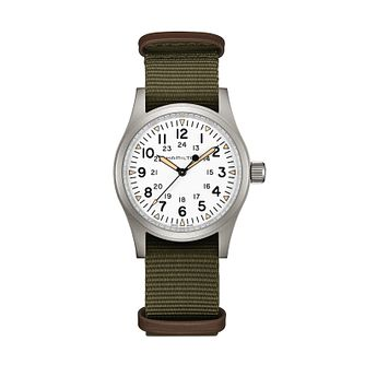 Hamilton Khaki Field Mechanical Green Strap Watch - Product number 1252364