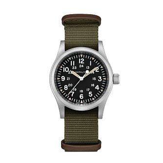 Hamilton Khaki Field Mechanical Green Strap Watch - Product number 1252380