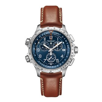 Hamilton Khaki Aviation X-Wind GMT Brown Leather Strap Watch - Product number 1252682