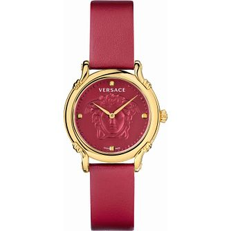 Versace Pin Red Leather Strap Watch - Product number 1255614