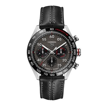 TAG Heuer Carrera Porsche Black Leather Strap Watch - Product number 1256637