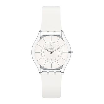 Swatch White Classiness Unisex White Silicone Strap Watch - Product number 1259903