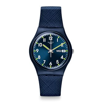 Swatch Sir Blue Unisex Blue Silicone Strap Watch - Product number 1259997