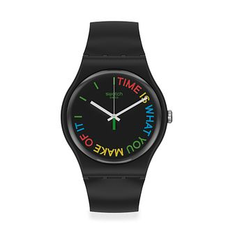 Swatch Freetid Unisex Black Silicone Strap Watch - Product number 1260111