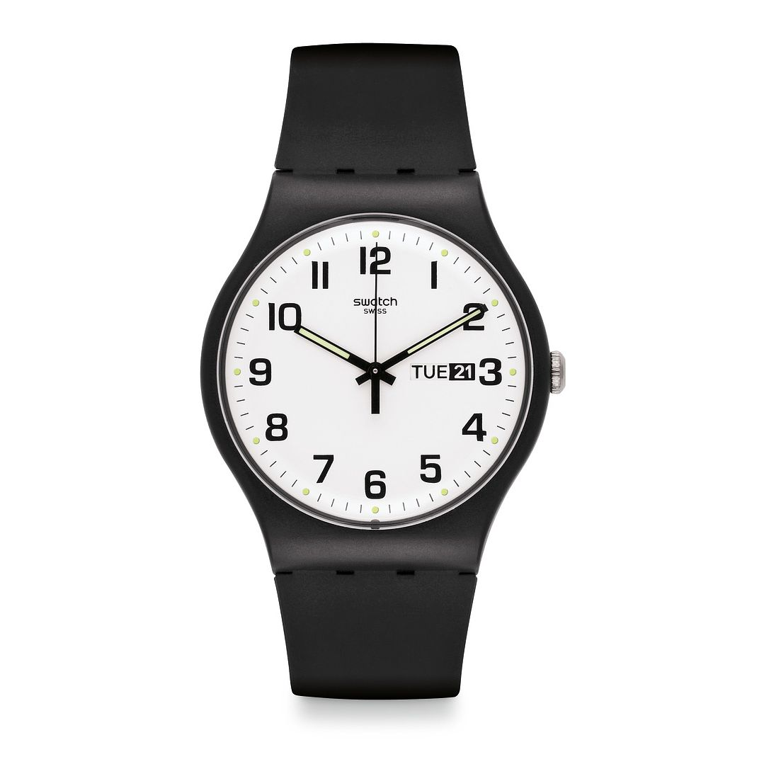 Swatch Twice Again Unisex Black Rubber Strap Watch - Product number 1260189