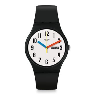 Swatch Elementary Unisex Black Silicone Strap Watch - Product number 1260197